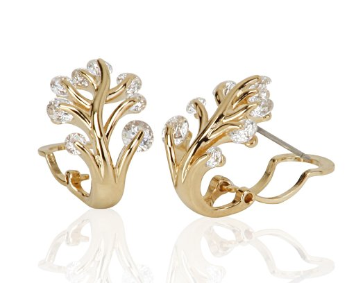 Lifestyle Infinity Lifestyle Gold Plated Cubic Zirconia Leaf Earrings For Women (YE10337) (Yellow)