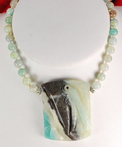 Natural Amazonite & Carved Dragonfly Pendant Silver Necklace N2_0716_19