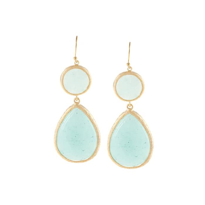 KC Signatures Gold-plated Pear Shape Double Drop Earrings (Clean Turquoise)