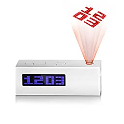 OUANGANC Multifunctional LCD Alarm Clock with FM Radio Function Digital Projection Clock with Temperature Date Time Display
