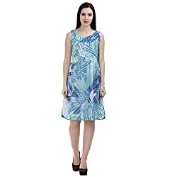 MansiCollections Women's Fit and Flare Blue Dress (Large)