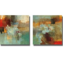 Big City I & II by Randy Hibberd 2-pc Premium Stretched Canvas Set with Hand-Painted Edges (Ready to Hang, Black-Edges)