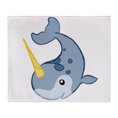 Cafepress Cute Blue Narwhal Throw Blanket - Standard Multi-Color front-507406