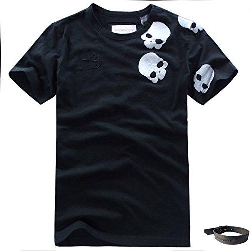 (ハイドロゲン)HYDROGEN HYD-72 Tシャツ メンズ おしゃれ 半袖 ブランド アニマル プリント (XXL, ブラック)