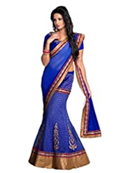 AG Lifestyle Blue Chiffon & Net Jacquard Saree With Unstitched Blouse ASL708