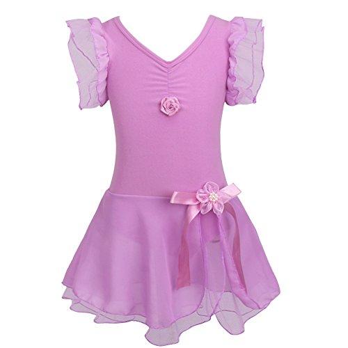 FEESHOW Kinder Trauerschwan Ballettkleid Ballettanzug für Mädchen Ballett Trikot Tanzsport Bekleidung mit Rüschen Sleeves
