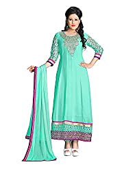 ZHot Fashion Women's Embroidered Un-stitched Dress Material In Georgette Fabric (ZH1001) Sea Blue