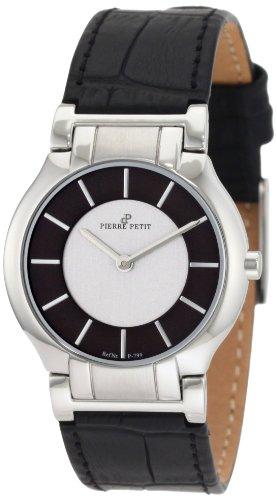 Pierre Petit P-799A - Reloj analógico de cuarzo para mujer con correa de piel, color negro