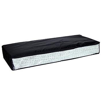 mondex eve733 01 housse de de rangement sous lit avec fen tre fen tre tissu plastique noir 25. Black Bedroom Furniture Sets. Home Design Ideas