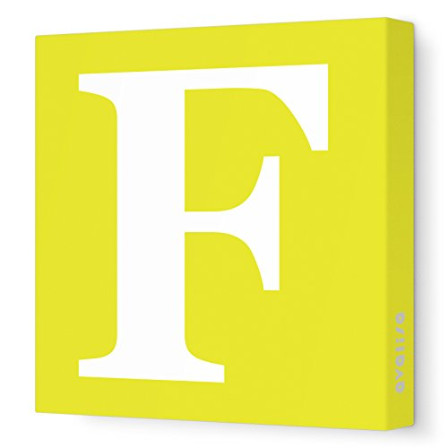 "Avalisa Stretched Canvas Upper Letter F Nursery Wall Art, Yellow, 18"" x 18"""