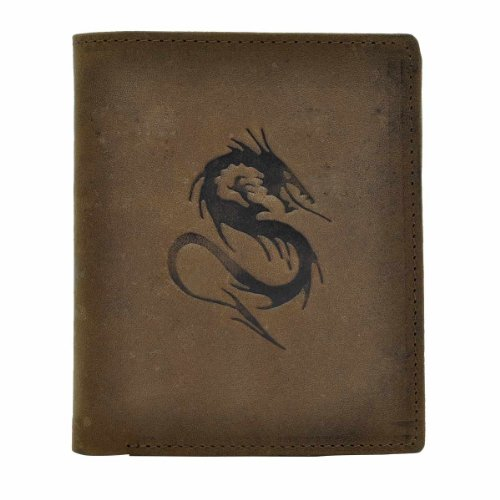 Hawai Men's Dragon Embossed Wallet (brown)
