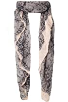 Yoursclothing Womens Beige And Black Baroque Lace Print Scarf Nude