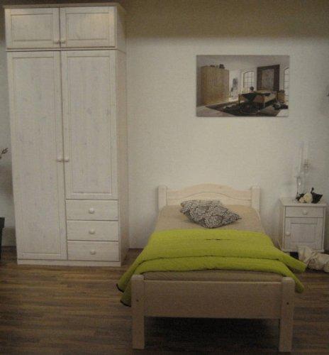 Jugendzimmer Bett Schrank Nachtkommode Kiefer massiv, Farbe:Gebeizt/Geölt online kaufen