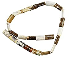 Rounded Rectangle Creamy Marble Stone Bead Strand (15 Inch)