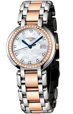 Longines Prima Luna in Steel and Gold Mother of Pearl Dial Diamond Markers and Diamond Bezel Women's Watch