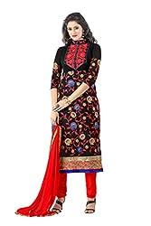 Shree Vardhman Women's Georgette Dress Material (KIYARA909_black)