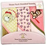 Snugly Baby 3 Pack Hooded Towels Girls Pink