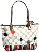 Coach Poppy Watercolor Dots Shopper Tote 25126 Neutral
