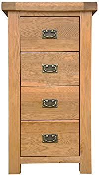 Oakhampton Chunky Oak 4 Drawer Narrow Tallboy