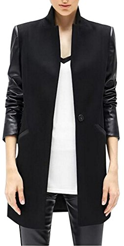 LIZHOUMIL Women Winter PU Leather Sleeve Woolen Slim Fitted Patchwork Trench Coat