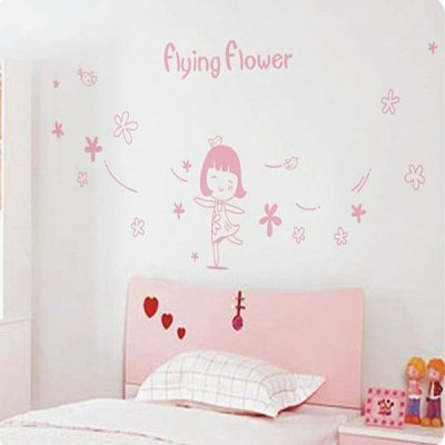 Pvc Wall Sticker Room Decor For Child With Flying Flower And Little Girl Pattern Large Size