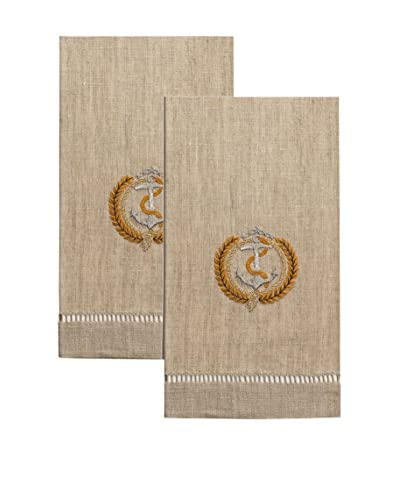 Henry Handwork Set of 2 Anchor & Laurel Embroidered Hand Towels, Fleck