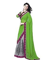 Nistula Georgette Half Saree With Blouse Piece [Green]