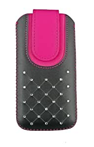 Emartbuy® Black / Hot Pink Gem Studded Premium PU Leather Slide in Pouch Cover ( 3XL ) With Pull Tab Suitable For HTC First
