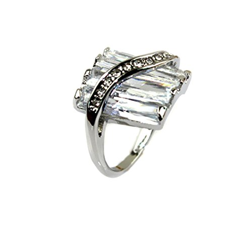 Imixlot Clear Transparent Zircon With Crystal Engagement Wedding Ring