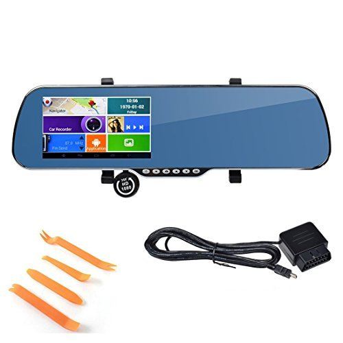 TOGUARD(TM) HD 5″ Full HD 1080p Android GPS Sat Nav Touch Screen Car Dash Cam Dual lens DVR GPS WiFi Rearview Mirror + G-sensor + Night Vision Rear Camera + OBD charger cable + Install tools