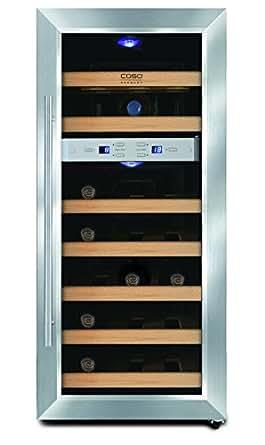 CASO WineDuett 21 Design Weinkühlschrank für bis zu 21 Flaschen (bis zu 310 mm Höhe), zwei Temperaturzonen 7-18°C