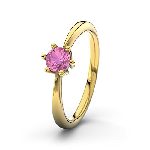 21DIAMONDS Women's Erin Pink Tourmaline Brilliant Cut Engagement Ring - 14ct Yellow Gold Engagement Ring