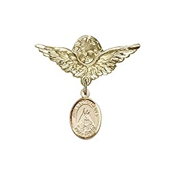 14kt Gold Filled Baby Badge with O/L of Olives Charm and Angel w/Wings Badge Pin