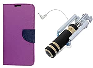Novo Style Wallet Case Cover For Samsung Galaxy Note 2 7100 Purple + Wired Selfie Stick No Battery Charging Premium Sturdy Design Best Pocket Sized Selfie Stick