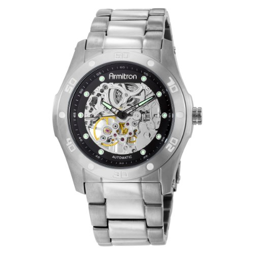 Armitron Men's 204406SVSV Automatic Silver-Tone Round black Dial Dress Watch