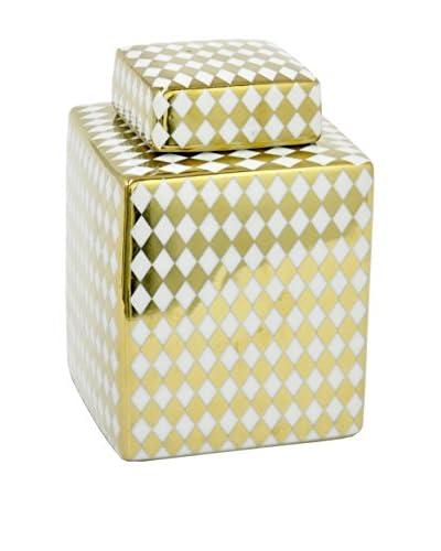 Three Hands Squared Ceramic Jar, White/Gold
