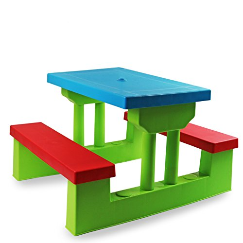 Best Deal Oypla Kids Childrens Picnic Bench Table Set Outdoor - Picnic table parasol