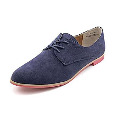 American Rag Stanny Womens Size 5 Blue Faux Suede Oxfords Shoes   Amazon.com