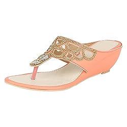 GRACETOP Women's Peach Synthetic Fashion Sandals - 39