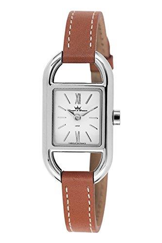 Yonger & Bresson-DCC 1694-02-Ladies Watch-Analogue Quartz-White Dial-Brown Leather Bracelet