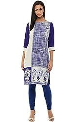 Rangmanch by Pantaloons Women's Straight Kurta ( 205000005639542, Blue, Small)