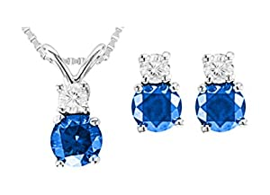 3/4 Ctw Blue and White Diamond Studs and Pendant Set with Chain SI2-I1 14k WGold by Diamond Studs Forever