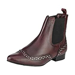 Delize Women's Pls50052-Cherry Red Leather Boots - 7 UK