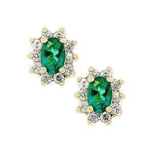 Emerald Flower Stud Earrings