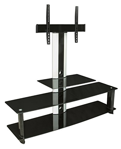 Mount-It! MI-869 TV Stand with Mount, Entertainment Center for Flat Screen TVs Between 32 to 60 Inch, 3 Glass Shelves and Aluminum Columns, VESA Compatible TV Mount, Black/Silver (55 Inch Tv Stand With Mount compare prices)