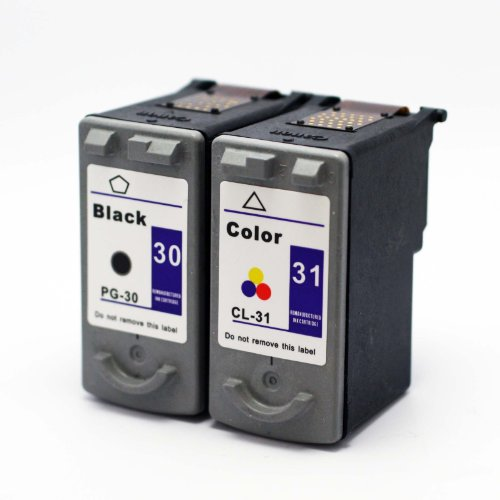 Remanufactured Canon PG30 PG-30 and CL31 CL-31 Tri-Color Printer Ink Cartridge 2-Pack (1 Black + 1 Color) for CANON Printers PIXMA iP1800 iP2600 MP140 MP210 MP470 MX310 MX300 MP190 iP-1800 iP-2600 MP-140 MP-210 MP-470 M-X310 MX-300 MP-190-Black
