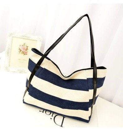 XCC Autumn new Korean version of casual commuter bag navy wind stripe canvas shoulder bag big bag women bag distribution