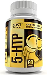 Just Potent Pharmaceutical Grade 5-HTP :: 200mg Per Capsule :: 90 Capsules :: Potent Formulation for Appetite Suppression* and Better Mood*