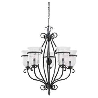 Sea Gull Lighting 3401 07 Five Light Manor House Chandelier Weathered Iron F
