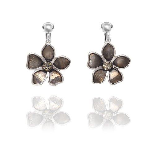 Rodney Holman Large Flower Drop Clip On Earrings - Teak